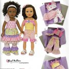 "SIMPLICITY 1296 AMERICAN GIRL 18"" DOLL CLOTHES PATTERN MODERN RUFFLE TOP DRESS, PANTS, SKIRT NEW"