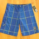 OP OCEAN PACIFIC MEN'S SIZE 37 SHORTS BLUE, YELLOW, & WHITE PLAID STRETCH SWIM TRUNKS BOARD NWT