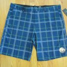 OP OCEAN PACIFIC MEN'S SIZE 28 - 30 SHORTS NAVY LIME & GRAY PLAID STRETCH SWIM TRUNKS ZIP FLY NWT