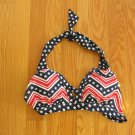 CATALINA WOMEN'S SIZE S SWIM TOP RED, WHITE, & NAVY BLUE HALTER BRA PATRIOTIC STARS & STRIPES NEW