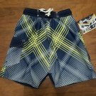 QUAD SEVEN BOY'S SIZE 12 / 14 SWIM TRUNKS NAVY BLUE & LIME PLAID BOARD NWT