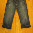 SEE THRU SOUL WOMENS JUNIOR'S 27 - 28 JEANS DARK BLUE DENIM CAPRIS CROPPED DISTRESSED STS