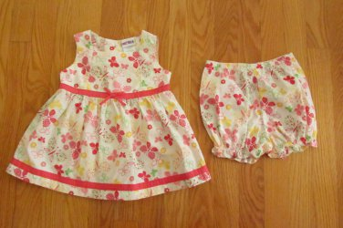 OKIE DOKIE GIRL'S SIZE 18 mo. DRESS & PANTIES WHITE SALMON MINT BUTTERFLIES SUN SPRING EASTER