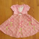 YOUNGLAND GIRL'S SIZE 4 DRESS PINK PLAID W/ FLORAL APPLIQUE EASTER BOUTIQUE CHURCH