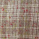FABRIC:  WOOL BLEND WOOL, ACRYLIC, POLYESTER GRAY, WHITE PLAID CRANBERRY 60 INCHES WIDE NEW