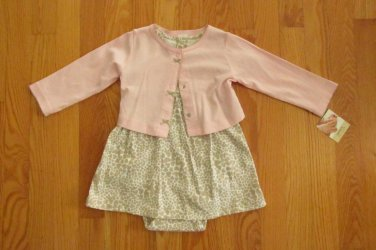 CARTER'S GIRL'S SIZE 12 mo. DRESS, ONESIE & JACKET BEIGE & PINK KNIT HEARTS EASTER CHURCH NWT