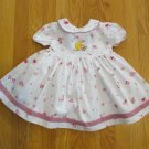 DISNEY POOH GIRL'S SIZE 18 mo. DRESS WHITE & PINK FLORAL POOH EMBROIDERY EASTER BOUTIQUE CHURCH