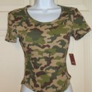 NO BOUNDARIES WOMEN'S JUNIOR'S SIZE XXL 19 T-SHIRT GREEN & BROWN CAMOUFLAGE CROP TOP HUNTING NWT