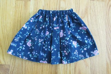 """AMERICAN GIRL 18"""" DOLL CLOTHES SKIRT NAVY W/ PINK ROSES NICKI LIFE OF FAITH REBECCA AMERICAN MADE"""