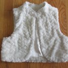 SO GIRL'S SIZE M (10 / 12) VEST IVORY FAUX FUR JACKET W/ SEQUINS CHRISTMAS HOLIDAY SHRUG BOLERO