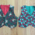 HANDMADE BOY'S GIRL'S VESTS SIZE 5 & 6 RED & GREEN CHRISTMAS PRINTS HOLIDAY REVERSIBLE SET OF 2