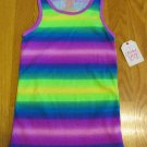 FADED GLORY GIRL'S SIZE M (7 - 8) TANK TOP FUCHSIA PINK, PURPLE, LIME, ROYAL BLUE STRIPE NWT