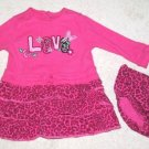 PLACE GIRL'S SIZE 12 mo DRESS & DIAPER COVER PINK THERMAL LS LOVE CHEETAH LEOPARD ANIMAL SAFARI
