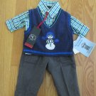 WILL LOGAN BOY'S SIZE 0 / 3 mo SHIRT, PANTS, & SWEATER VEST PLAID NAVY & GRAY CHRISTMAS SNOWMAN NWT