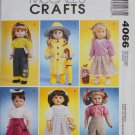 "McCALL'S 4066 AMERICAN GIRL 18"" DOLL CLOTHES PATTERN NEW POODLE SKIRT, DOROTHY, RAIN COAT"
