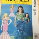 "McCALL'S 7175 SIZE 3-8 & AMERICAN GIRL 18"" DOLL CLOTHES PATTERN NEW MERMAID DRESS COSTUME"