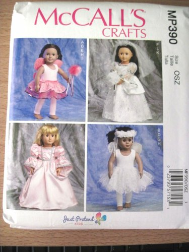 "McCALL'S MP390 6981 AMERICAN GIRL 18"" DOLL CLOTHES PATTERN NEW BRIDE PRINCESS FAIRY"