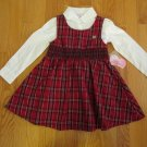 LITTLE MISS ATTITUDE GIRL'S SIZE 4 DRESS & TOP RED PLAID WHITE SHIRT CHRISTMAS HOLIDAY JUMPER NWT