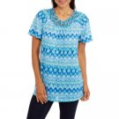 WHITE STAG WOMEN'S SIZE L (12 - 14) TUNIC TOP BLUE COMBO DIAMOND MACRAME SCOOP NECK NWT