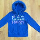 JUSTICE GIRL'S SIZE 12 HOODIE BLUE PEACE GRAPHIC FLEECE SWEAT JACKET FAUX FUR TRIMMED HOOD
