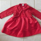CARTER'S GIRL'S SIZE 12 mo. DRESS RED VELVET & GLITTER SHRUG CHRISTMAS HOLIDAY JUMPER CARDIGAN