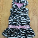 LITTLE LASS GIRL'S SIZE 2 T VEST BLACK & WHITE ZEBRA FAUX FUR HOODIE JACKET CHRISTMAS HOLIDAY
