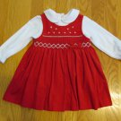 CUDDLE BEAR GIRL'S SIZE 12 mo. DRESS RED CORDUROY SMOCKED JUMPER & WHITE TOP CHRISTMAS HOLIDAY