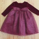 PERFECTLY DRESSED GIRL'S SIZE 24 mo. DRESS BURGUNDY VELOUR CHRISTMAS HOLIDAY VICTORIAN