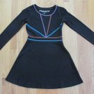 DREAMPOP GIRLS SIZE M 10 / 12 DRESS BLACK KNIT SKATER LONG SLEEVE DECORATIVE STITCHING