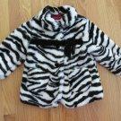 WONDER KIDS GIRL'S SIZE 2 T COAT BLACK & WHITE FAUX FUR ZEBRA ANIMAL WINTER OUTERWEAR DRESSY JACKET
