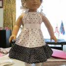 "AMERICAN GIRL 18"" DOLL CLOTHES BLACK & WHITE DOT PILLOWCASE DRESS McKENNA, MARISOL USA MADE NEW"