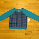 FADED GLORY GIRL'S SIZE XL (14 - 16) TOP TEAL & NAVY PLAID INSET LONG SLEEVE SHIRT NWT