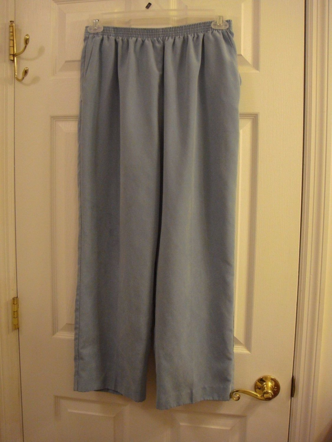 ALFRED DUNNER WOMEN'S SIZE 24W PANTS PLUSH POWDER BLUE HIGH RISE ELASTIC WAIST SLACKS OFFICE DRESS
