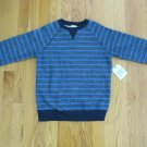 FADED GLORY BOY'S SIZE S (6 - 7) SHIRT GRAY & BLUE STRIPE LONG SLEEVE SWEAT SHIRT NWT