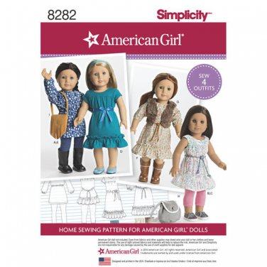 """SIMPLICITY 8282 AMERICAN GIRL 18"""" DOLL CLOTHES PATTERN TUNIC, LEGGINGS, DRESS, VEST, BAGS NEW"""
