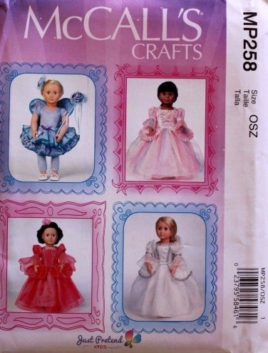 """McCALL'S MP258 AMERICAN GIRL 18"""" DOLL CLOTHES PATTERN RENAISSANCE, FAIRY NEW"""
