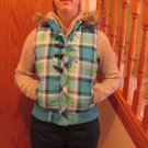 JUSTICE GIRL'S SIZE 16 VEST AQUA & LIME PLAID WINTER HOODIE QUILTED PUFFER JACKET OUTERWEAR FAUX FUR