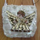 MARLO BAGS WOMEN'S GIRL'S SIZE SMALL ANGEL PURSE WHITE & GOLD SEQUINS AND BEADS HAND BAG