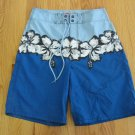 MOSSIMO MEN'S SIZE 30 SHORTS BLUE, WHITE & NAVY HAWAIIAN FLORAL SWIM TRUNKS BOARD NWOT