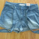 NO BOUNDARIES WOMEN'S JUNIOR'S SIZE 9 SHORTS LIGHT BLUE PLEATED DISTRESSED DENIM BELTED NWT