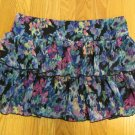 JOE BENBASSET GIRL'S SIZE XL SKIRT BLACK BLUE FUCHSIA GREEN MONET FLORAL TIERED RUFFLES MINI