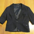 EXPRESS DESIGN STUDIO WOMEN'S SIZE 6 SUIT JACKET BLACK W/ WHITE DOTS BLAZER COAT SS OFFICE CARREER