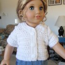 "AMERICAN GIRL 18"" DOLL CLOTHES WHITE CARDIGAN SWEATER SHORT SLEEVE MOLLY EMILY NEW"