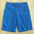 WHITE STAG WOMEN'S SIZE 8 10? SHORTS DARK BLUE DENIM METRO WALKING W/ BELT SPRING NWT