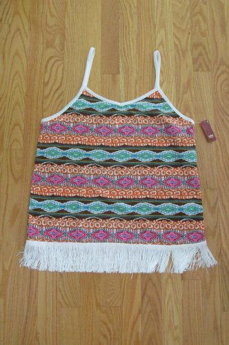 NO BOUNDARIES WOMEN'S JUNIOR'S SIZE XL (15 - 17) TANK TOP ORANGE & BROWN BOHO FRINGE CAMISOLE NWT