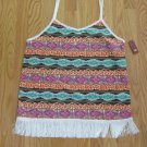NO BOUNDARIES WOMEN'S JUNIOR'S SIZE L TANK TOP ORANGE & BROWN BOHO FRINGE CAMISOLE NWT