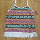 NO BOUNDARIES WOMEN'S JUNIOR'S SIZE S (3 - 5) TANK TOP ORANGE & BROWN BOHO FRINGE CAMISOLE NWT