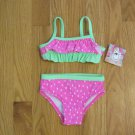 OP OCEAN PACIFIC GIRL'S SIZE 3-6 mo. SWIM SUIT PINK & LIME WATERMELON BIKINI UPF 50 NWT