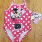 DISNEY GIRL'S SIZE 18 mo. SWIM SUIT PINK MINNIE POLKA DOT ONE PIECE SWIM SUIT SWIMSUIT NEW WITH TAG