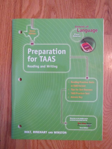 ELEMENTS OF LANGUAGE: FIRST COURSE 7th GRADE TASS PREP HOLT ISBN # 0-03-064251-5 NEW 2000
